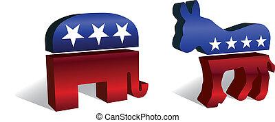 符號, 共和, 民主, 3d, &
