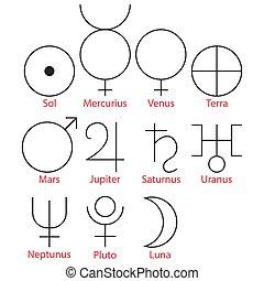 符號, 矢量, 插圖, 占星術