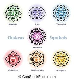 符號, 矢量, 集合, chakras