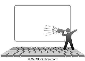 符號, 計算机鍵盤, 擴音器, blogs, 人