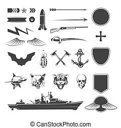 符號, 軍事, 矢量, 集合, mega
