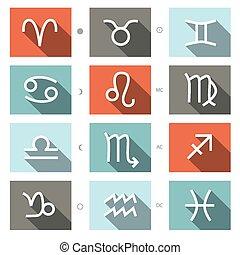 符號, 黃道帶, 矢量, 集合