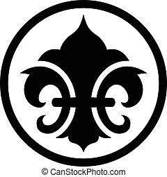 符號, de, fleur, lis