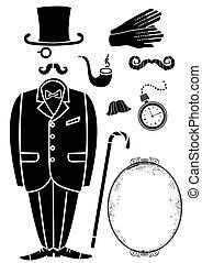 符號, retro, 黑色, accessories., 衣服, 被隔离, 矢量, 設計, 紳士