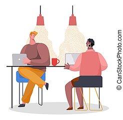 筆記本電腦, 被給穿衣, 偶然的辦公室, 衣服, 桌子, 商人, 坐, 談話