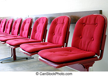 等待, 行, 房間, 紅色, 座位