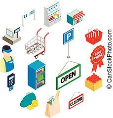 等量, 圖象, 集合, 風格, 超級市場, 3d