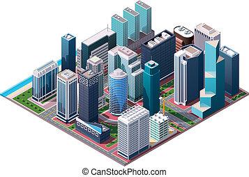 等量, 矢量, 市中心, 地圖