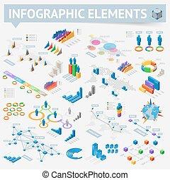 等量, 裝置設計, 元素, infographics