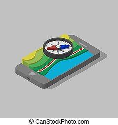 等量, illustration., 三維, 磁性, map., 指南針, 在上方, 3d