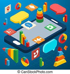 等量, infographic, smartphone