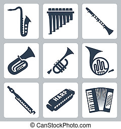 管子, 口琴, 手風琴, instruments:, 矢量, 音樂
