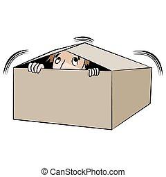 箱子, 人, 卡通, 隱藏