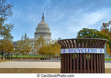 箱子, 再循環, 美國國會大廈, 前面, 建築物
