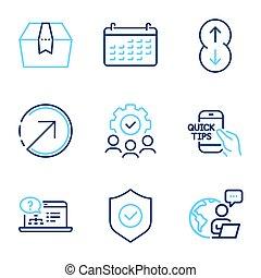 箱子, 包裹, set., signs., 矢量, included, 技術 像, 圖象, 日曆, 教育