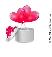 箱子, 心, 禮物, 成形, 華倫泰, 插圖, 矢量, 气球, 天, 卡片