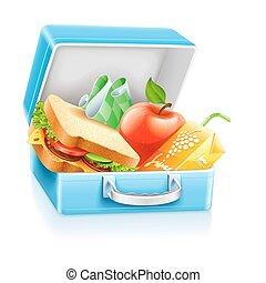 箱子, 汁, 三明治, 蘋果, 午餐