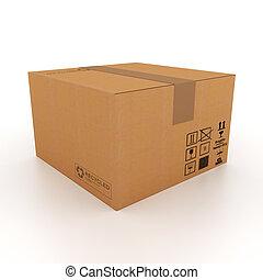 箱子, 紙板, 3d