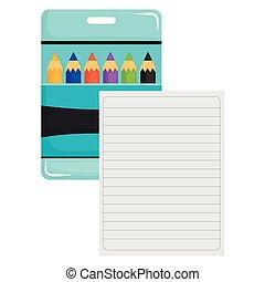 箱子, 鉛筆, 表, 紙, 顏色, 筆記本
