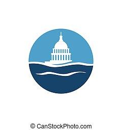簡單, 建築物, 水, 矢量, 州議會大廈, 標識語, 設計