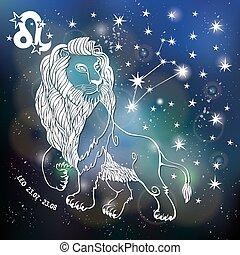 簽署, horoscope., 空間, leo., 黃道帶, 被模糊不清