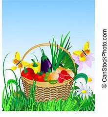 籃子, 草坪, 蔬菜