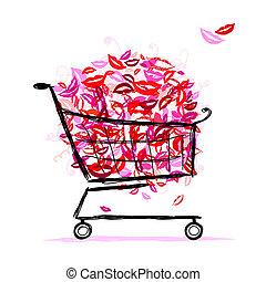 籃 設計, 嘴唇, 購物, 你