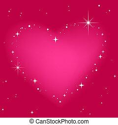 粉紅色, 心, 天空, 星