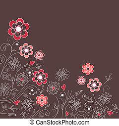 粉紅色, 灰色, 黑的背景, 植物, 花