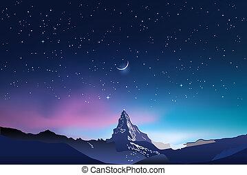 粉紅色, 藍色, 多雪, 天空, 山, 星, 夜晚, 風景