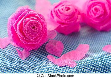 粉紅色, 藍色, festival., 上升, 情人節, 布, 背景, 小, 雄鹿