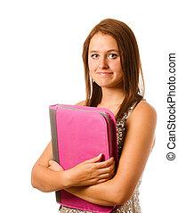 粉紅色, 青少年, 或者, 害羞, 學校, 被隔离, 黏合劑, 筆記本, 背, 緊張, 准備好, 肖像, 白色, 女孩