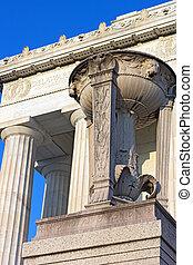 粉紅色, dc., 林肯, 支柱, 華盛頓, 壯麗, 紀念館, 三腳架, 我們, capital., 前面, 大理石
