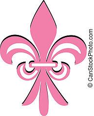 粉紅色, de, 花, fleur, lis