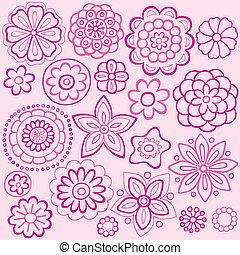 粉紅色, doodles, 花, 設計, 矢量