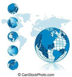 系列, 全球, 3d, 地圖, 世界
