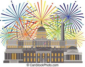 紀念碑, 界標, 煙火, 華盛頓特區, 插圖
