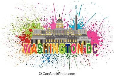 紀念碑, 邊帶潑喇聲, 界標, 華盛頓特區, 插圖