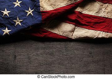 紀念館, 老, 旗, 被穿, 天, 美國人, 7月4 日, 或者