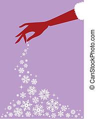 紅色, 手, 矢量, 雪花