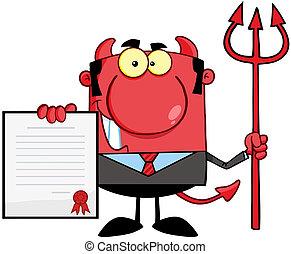 紅色, 老板, 魔鬼, 三叉戟