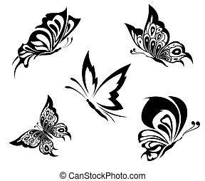 紋身, 蝴蝶, 黑色, 白色