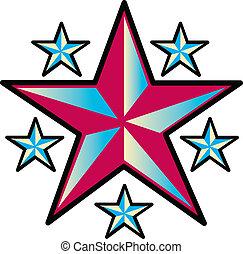 紋身, 設計, 藝術, 星, 夾子