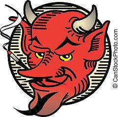 紋身, 設計, 魔鬼, 藝術, 抽煙