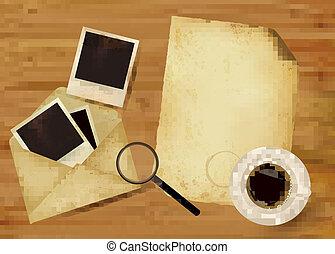 紙, 老, 相片, 信封