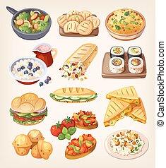 素食主義者, 集合, 鮮艷, 食物。