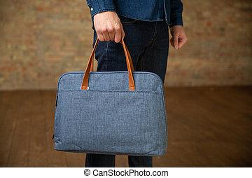 紡織品, 向上, 公文包, 關閉, laptop.