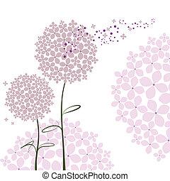 紫色, 摘要, 花, 八仙花屬, 春天
