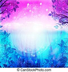 紫色, 藍色的背景, 春天