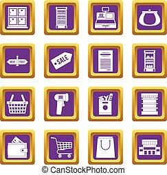 紫色, 集合, 超級市場, 圖象